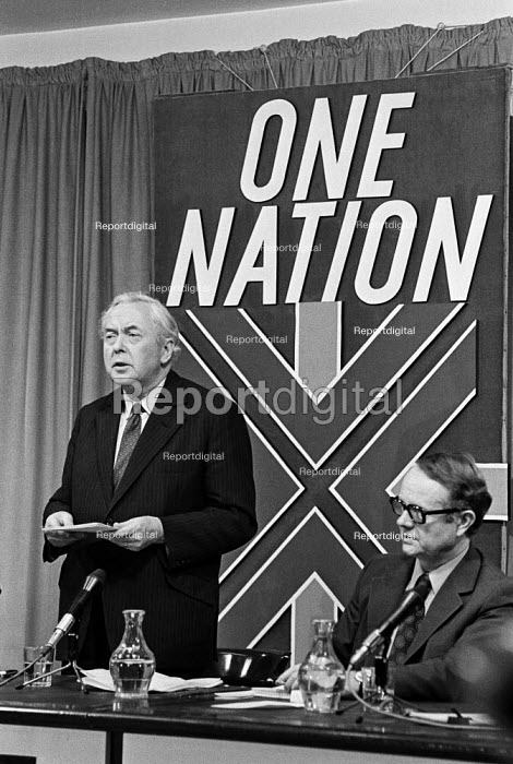 Harold Wilson and Ron Hayward, Labour Party General Election press conference, London 1974. One Nation slogan - NLA - 1974-02-16