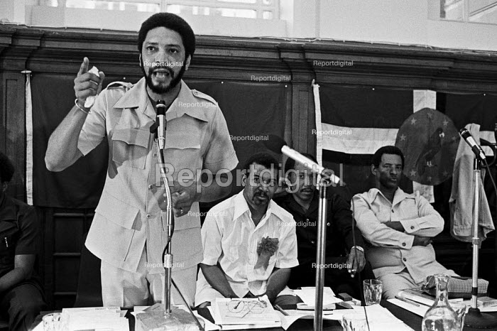Maurice Bishop speaking, London 1979, with other leaders of the Caribbean islands, 3 months after leading a popular revolution in Grenada - Peter Arkell - 1979-08-11