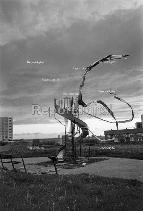Video tape blowing in the wind from a childrens slide, Everton, Liverpool, 1988 - Dave Sinclair - 1987-04-12