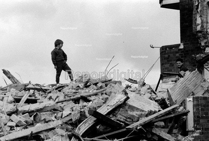 Boys playing in the rubble of Sir Thomas White Gardens, Everton, Liverpool 1984 - Dave Sinclair - 1982-04-12