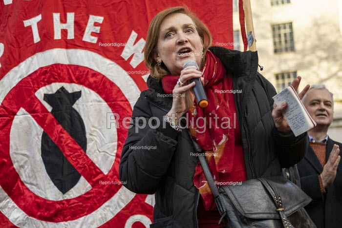 Emma Dent Coad speaking No War With Iran protest after the assassination of Iranian general Qassem Soleimani. Stop the War, Downing Street, Westminster, London - Jess Hurd - 2020-01-04