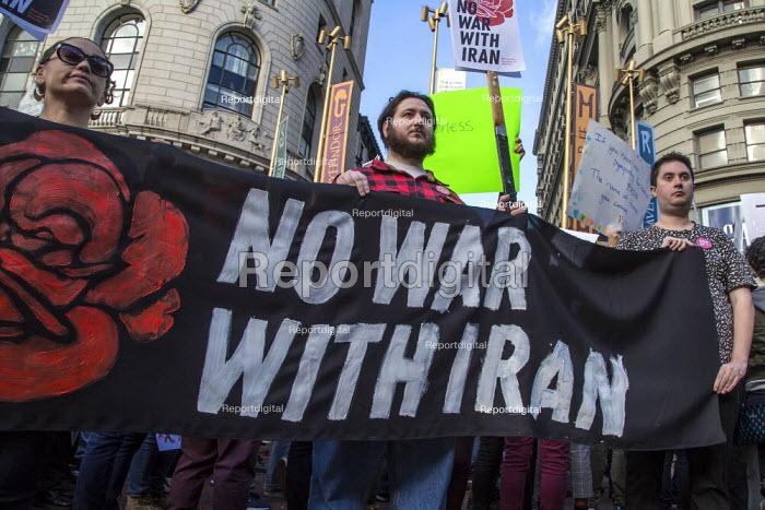 San Francisco, USA, NO WAR rally against war with Iran, following the assassination of Iranian General Qassem Soleimanin - David Bacon - 2020-01-04