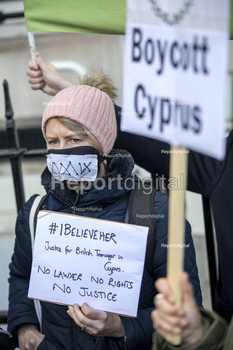 Protest for a UK teenager allegedly gang raped by 12 young Israeli men. She is facing a sentence in Cyprus after being convicted of lying about the incident, Cypriot Embassy, London - Jess Hurd - 2020-01-06