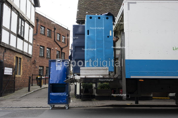 Driver collecting dirty hotel laundary, Stratford upon Avon, Warwickshire - John Harris - 2020-01-09