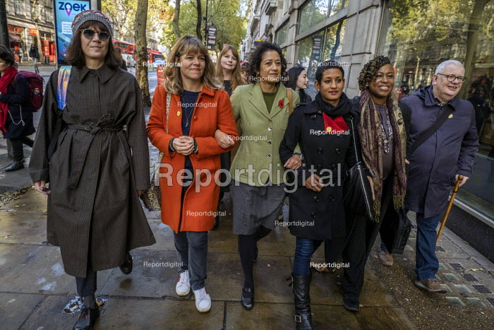 Samira Ahmed BBC presenter and NUJ member with supporters outside her equal pay employment tribunal, Victory House, London - Jess Hurd - 2019-10-03