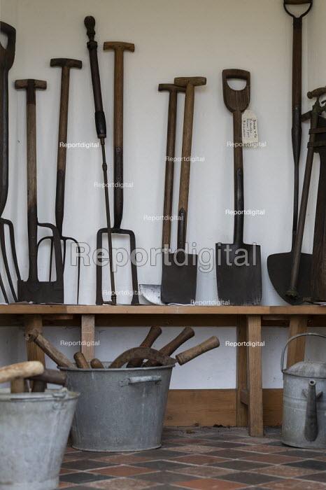 Old gardening tools, Hill Close Gardens, Warwick - restored Victorian hedged gardens - John Harris - 2020-02-02