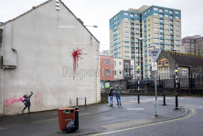 Banksy artwork finished on Valentines day vandalised overnight. Graffiti says ' BCC wankers' referring to Bristol City Council. Easton, Bristol - Paul Box - 2020-02-15