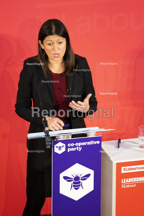 Lisa Nandy speaking, Labour Leadership Hustings, hosted by Co-coperative Party, Business Design Centre, North London. - Jess Hurd - 2020-02-16