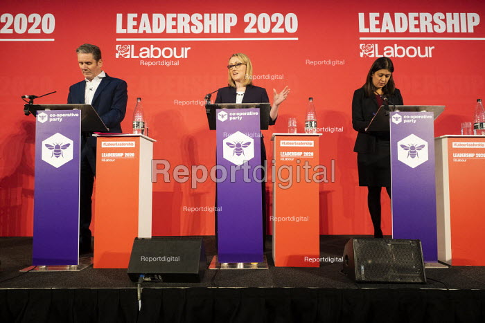 Keir Starmer, Rebecca Long Bailey and Lisa Nandy, Labour Leadership Hustings, hosted by Co-coperative Party, Business Design Centre, North London. - Jess Hurd - 2020-02-16