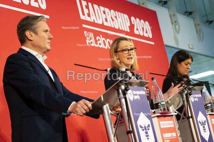 Keir Starmer, Rebecca Long Bailey speaking and Lisa Nandy, Labour Leadership Hustings, hosted by Co-coperative Party, Business Design Centre, North London. - Jess Hurd - 2020-02-16