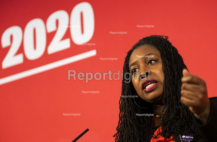 Dawn Butler speaking Labour Deputy Leadership Hustings, hosted by Co-coperative Party, Business Design Centre, North London. - Jess Hurd - 2020-02-16