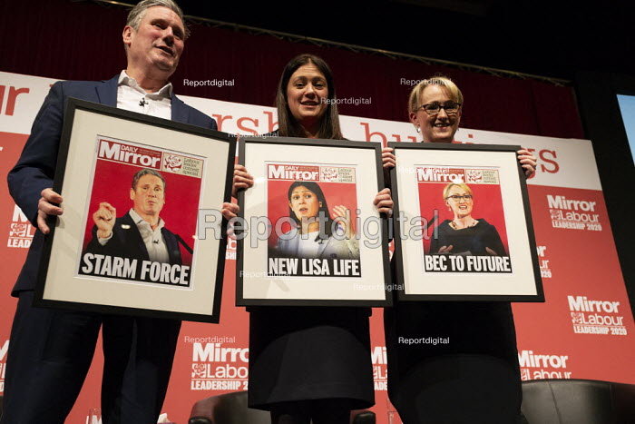 Keir Starmer, Lisa Nandy with mocked up Mirror Front pages... - John Harris, J2003049.jpg