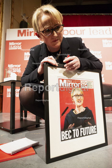 Rebecca Long-Bailey with mocked up Mirror Front pages Labour Leader Hustings, Dudley - John Harris - 2020-03-08