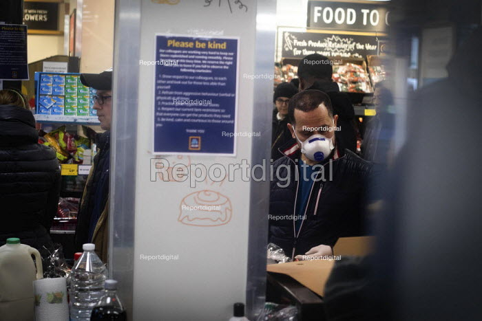 Queuing for food, Aldi Supermarket, Kilburn, London - Connor Matheson - 2020-03-18