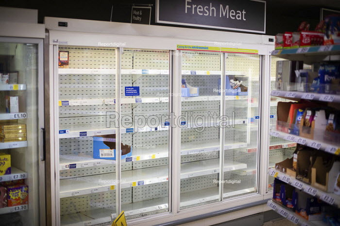 Empty shelves, fresh meat cabinet, Tesco, Kilburn, London - Connor Matheson - 2020-03-19