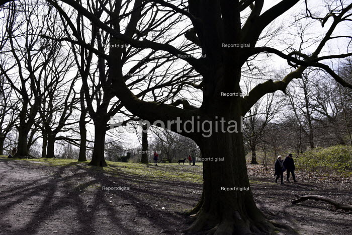 Coronavirus pandemic. Social distancing people taking exercise at a safe distance, Hampstead Heath, London - Stefano Cagnoni - 2020-03-21
