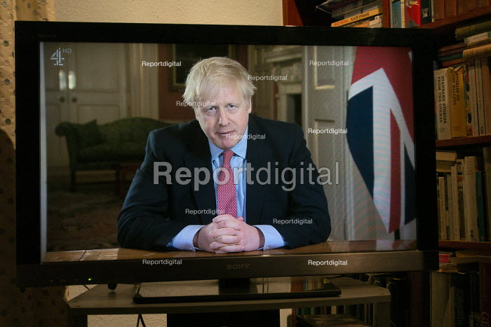 Boris Johnson speaking to the nation on TV, announcing Strict new curbs on life in the UK to tackle the spread of coronavirus - John Harris - 2020-03-23