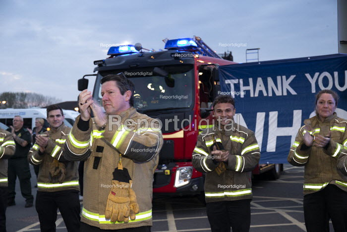 Firefighters Clap for Our Carers University Hospital Coventry. Thank you NHS banner and fire engines - John Harris - 2020-04-16
