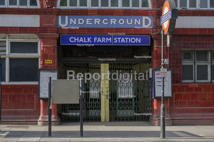 Chalk Farm underground station, one of many tube stops closed due to Covid-19 pandemic. - Philip Wolmuth - 2020-05-02