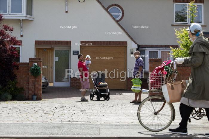 Coronavirus Pandemic. Neighbours talking at a safe distance, Stratford Upon Avon - John Harris - 2020-05-18