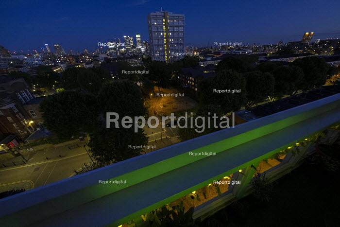 Grenfell fire 3nd anniversary, Gayton House tower block, E3 goes Green for Grenfell, East London. - Jess Hurd - 2020-06-14