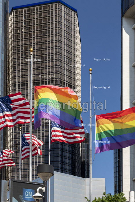 Detroit, Michigan USA Gay pride flags at the Renaissance Center on the day that the Supreme Court ruled that the 1964 Civil Rights Act protects gay and transgender workers from workplace discrimination. - Jim West - 2020-06-15