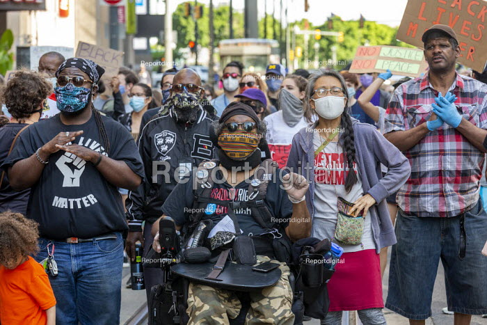 """Detroit, Michigan USA Black Disabled Lives Matter protest """"Baba"""" Baxter Jones (in wheelchair). Protest demanding that police funding be reallocated to mental health first responders and crisis intervention specialists. - Jim West - 2020-06-15"""