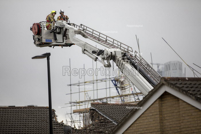 Search and Rescue operation, crane collapsed onto houses, Watts Grove, Bow, East London. Swan NU Living housing development - Jess Hurd - 2020-07-08