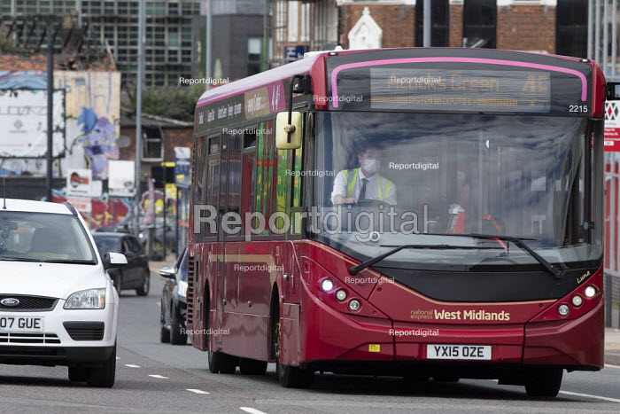 Bus driver, Digbeth, Birmingham, driving a National Express West Midlands bus - John Harris - 2020-07-22