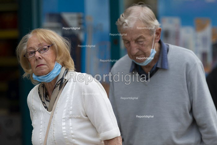 Mask up Friday, elderly shoppers, masks removed as they leave the shop, Stratford Upon Avon - John Harris - 2020-07-24