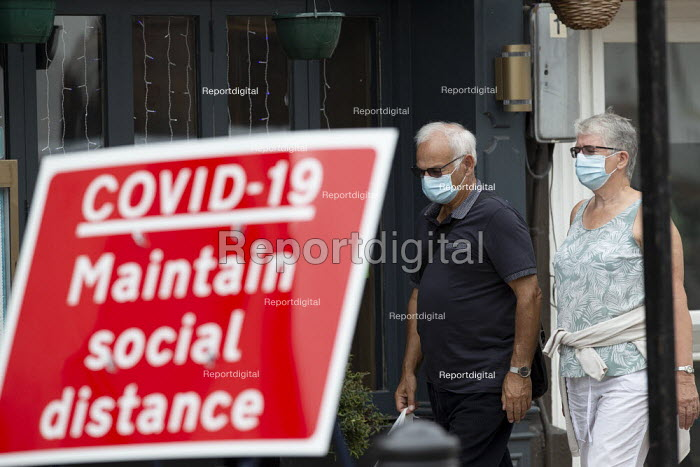 Mask up Friday, Shoppers wearing masks in the street, Maintain Social Distance sign, Stratford Upon Avon - John Harris - 2020-07-24