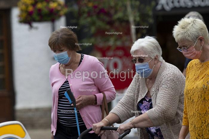 Mask up Friday, elderly shoppers wearing masks in the street, Stratford Upon Avon - John Harris - 2020-07-24