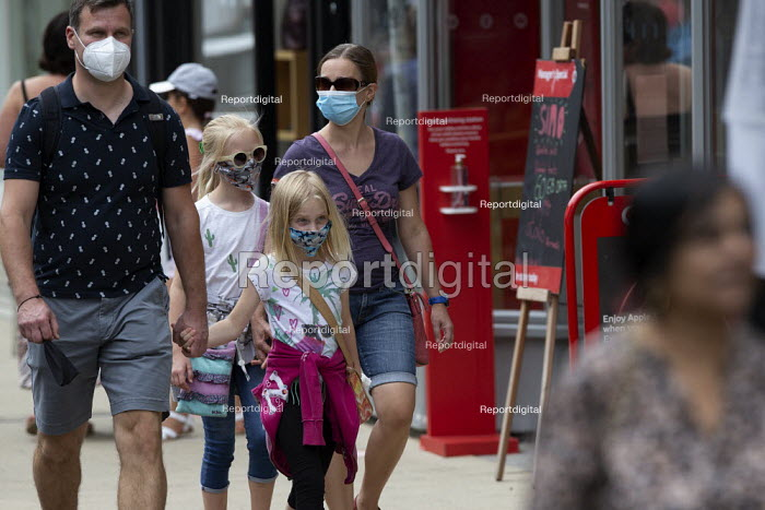 Mask up Friday, young family wearing masks in the street, Stratford Upon Avon - John Harris - 2020-07-24