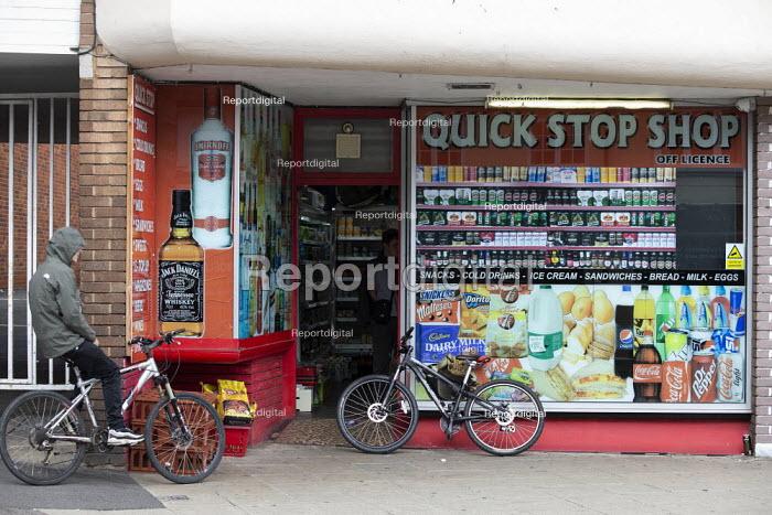 Youth on bikes buying alcahol, Quick Stop Shop, Stratford Upon Avon - John Harris - 2020-07-29