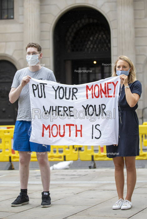 Protest for a Green Covid Recovery, Bank of England, City of London. The Bank of England is currently supporting fossil fuel companies through its corporate quantitative easing (QE) programme - Jess Hurd - 2020-08-06