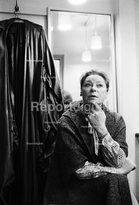 Siobhan McKenna in her dressing room, 1978, Ambassadors Theatre during the play Memoirs - John Sturrock - 1978-01-09