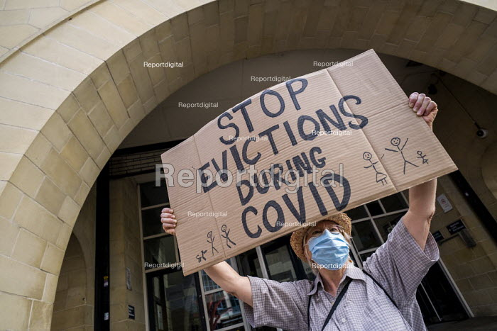 London Renters Union protest for eviction ban extension, Stratford Magistrates Court. They also want rent debt to be cancelled and the scrapping no fault evictions. Newham, East London. Stop Evictions During Covid - Jess Hurd - 2020-08-24