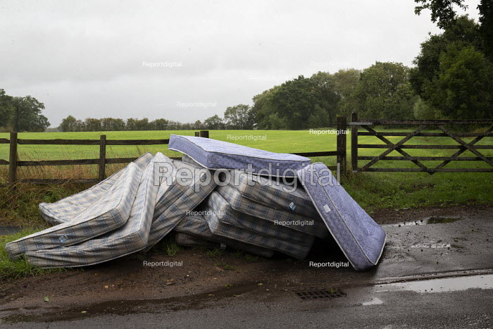 Mattresses dumped by the roadside, country lane, Charlecote, Warwickshire - John Harris - 2020-08-25