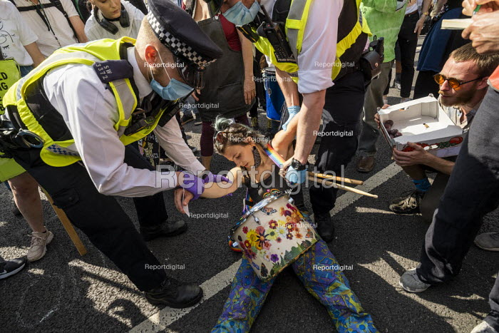 Extinction Rebellion protest blocking road to stop the Prime Minister attending PMQs, Parliament Square, London - Jess Hurd - 2020-09-02