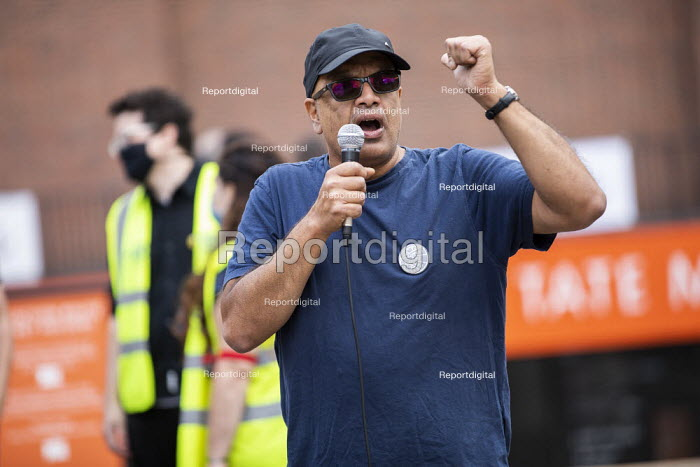 Rahul Patel, UCU speaking, day 24 of the Tate strike. March to Protect Art and Culture Jobs, We Won't Pay for the Crisis from Tate Modern to Parliament Square, London. - Jess Hurd - 2020-09-12