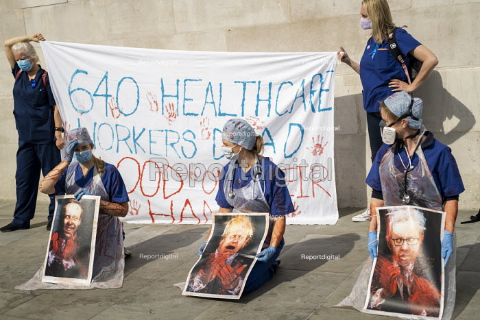 NHS workers protest for a pay rise, Trafalgar Square, London. Boris Johnson with blood on his hands placards - Jess Hurd - 2020-09-12