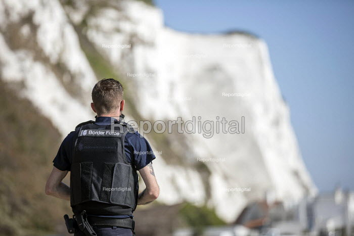 Dover UK Border Force looking for migrants arriving by boat from France, Home Office Immigration Enforcement, St Margaret's Bay, Dover. - Jess Hurd - 2020-09-21