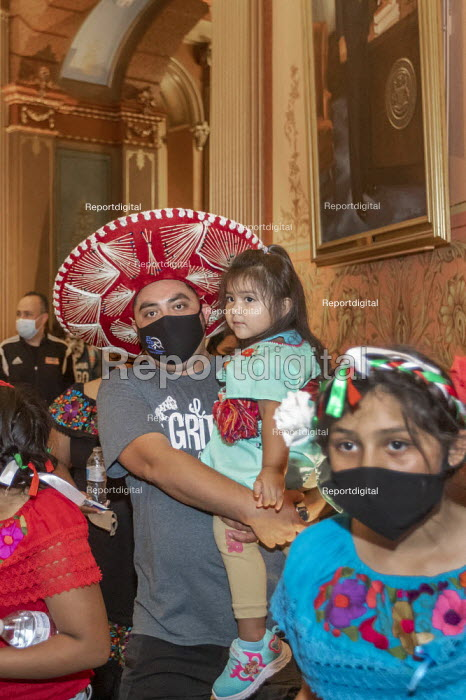 """Michigan, USA. Activists Demand Drivers Licenses for All Rally in the Michigan State Capitol building demanding that the legislature allow undocumented immigrants to get drivers licenses. """"Driving Without Fear"""" was organsed by Cosecha Michigan. - Jim West - 2020-09-16"""