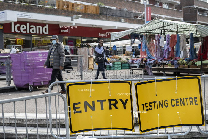 Covid-19 Testing Centre, Stepney Ideas Store, which market stall holders claim is affecting their trade, Watney Market, Stepney, East London. - Jess Hurd - 2020-10-15