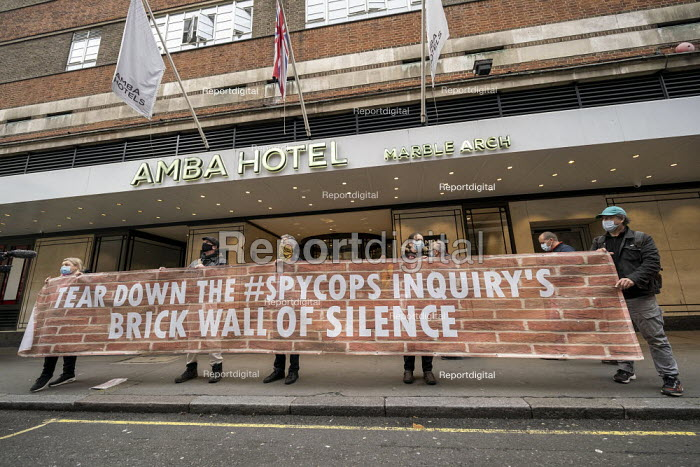 Spycops Protest, Undercover Policing Inquiry, Amba Hotel where proceedings will be live streamed, Central London. Bring down the Spycops Inquiry's Brick Wall of Silence - Jess Hurd - 2020-11-11