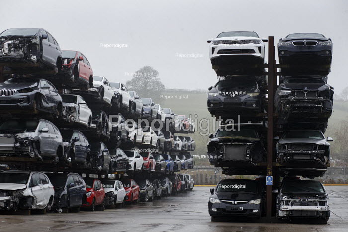 Car scrapyard, Daventry, Northamptonshire. Vehicles damaged in accidents are recycled for parts - John Harris - 2020-11-28