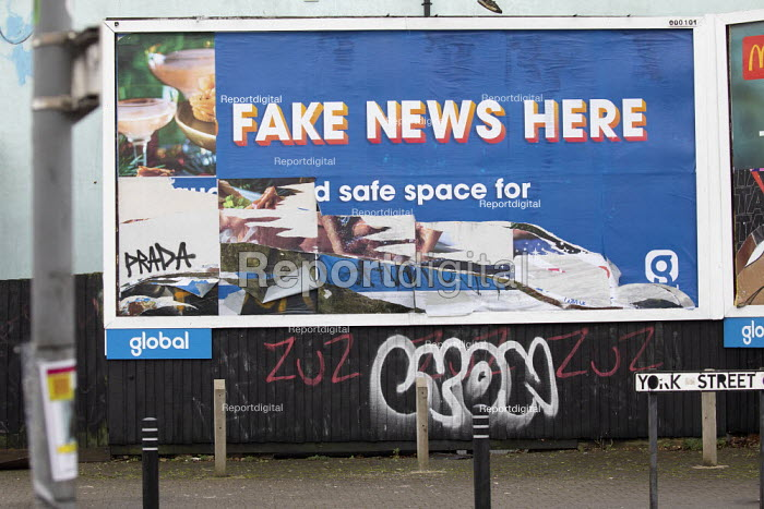 Defaced No Fake News Here billboard, Bristol. Global Media &, Paul Box - PB2101194.JPG