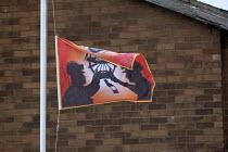 NUM flag at half mast, Marham Main Memorial Gardens, Armthorpe, Doncaster - John Harris - 20-11-2015