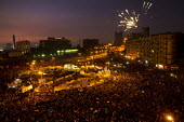 Fireworks in on Martyrs Day in Al-Tahrir (Liberation Square). Uprising against the military. Cairo, Egypt - Jess Hurd - 25-11-2011
