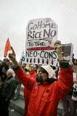 Thousands of protestors greeted Condoleezza Rice in Liverpool on her tour of NW England with Jack Straw. Banner reads: Go Home Rice No to the Blood for Oil Neo-Cons - Paul Herrmann - 31-03-2006